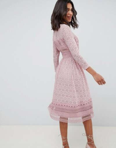 Кружевное приталенное платье миди ASOS DESIGN
