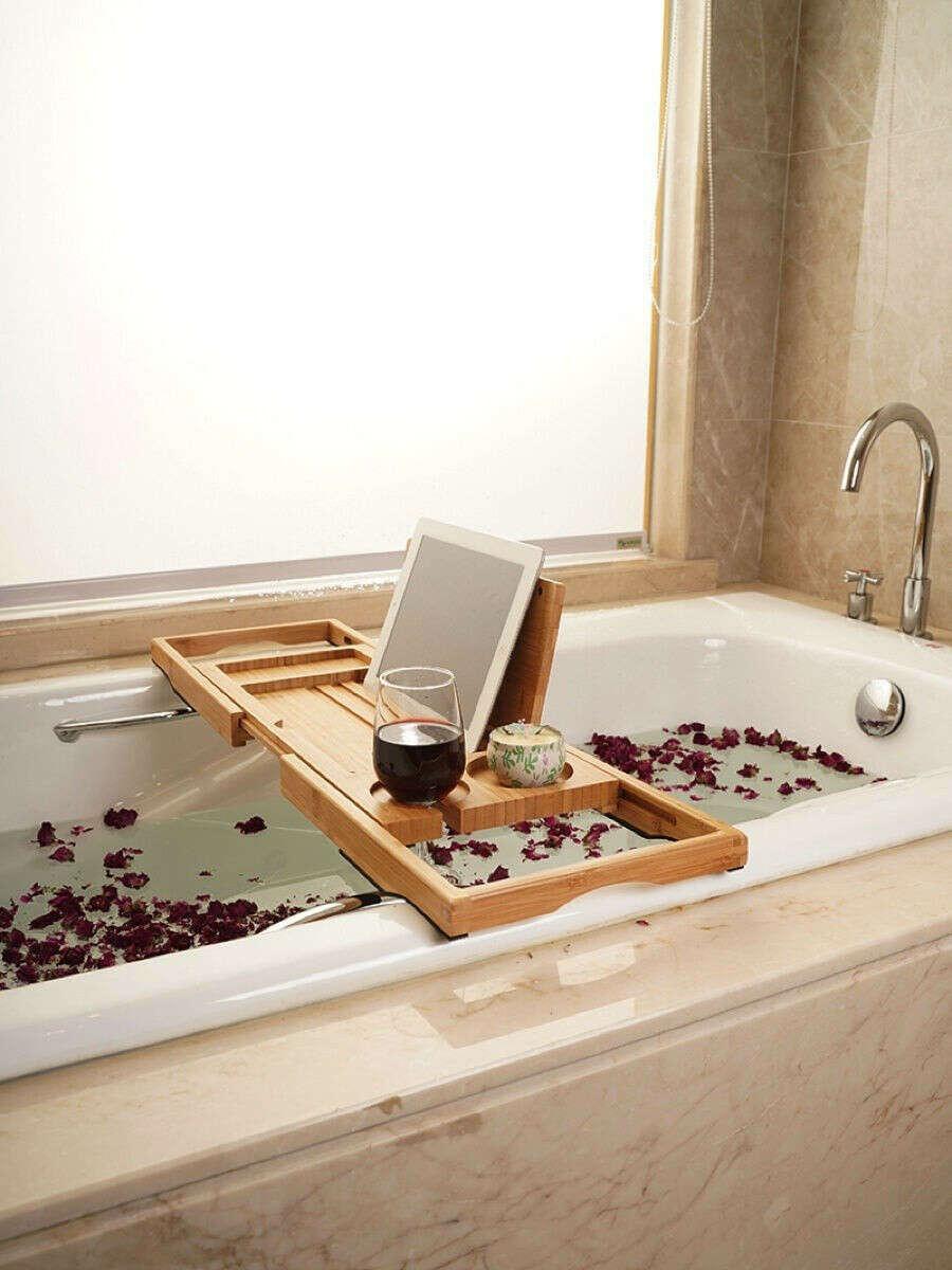 Столик-полка для ванны из массива каучукового дерева Премиум 63-95 см