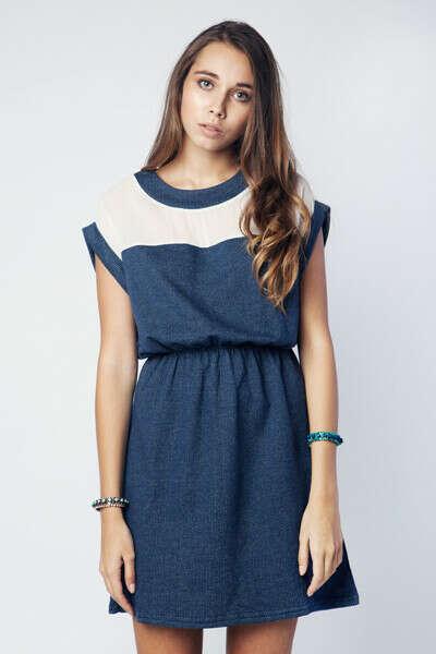 Платье Franco плотное с шифоновой вставкой синее