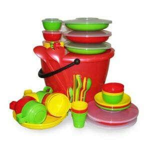 """Набор посуды для пикника на 6 персоны """"Пчелка"""" в футляре - купить посуду по цене со скидкой в Палатка.РФ!"""