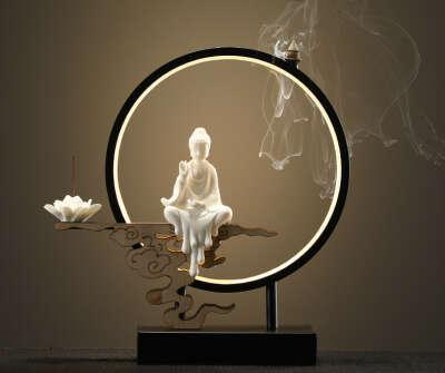 Керамическая лампа для благовоний в форме лотоса и Будды