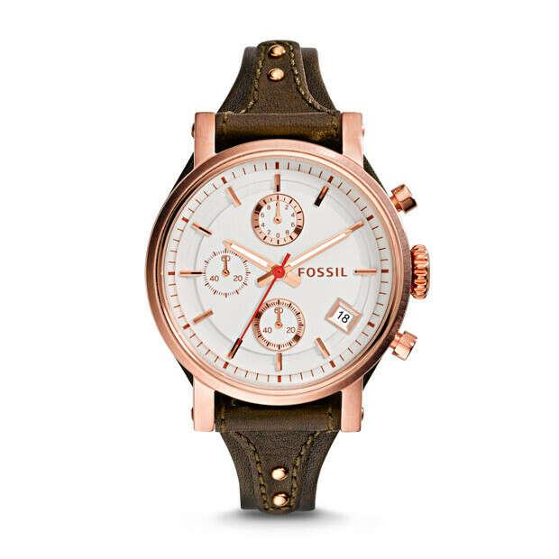 Original Boyfriend Chronograph Raisin Leather Watch