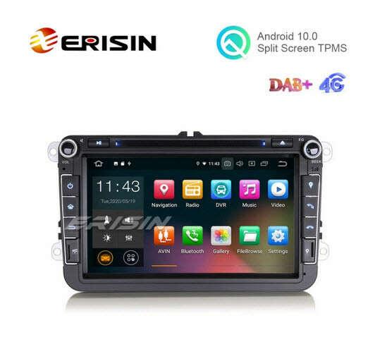 """Erisin ES5115VO 8"""" Android 10.0 VW Car DVD Player GPS 4G DAB+ CarPlay+ TPMS OBD Wifi - Erisinworldwide"""