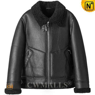 Sheepskin Jacket   Custom Black Sheepskin B-3 Bomber Jacket CW828667   CWMALLS®