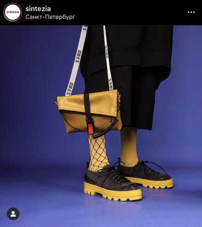 Ботинки на желтой подошве из sintezia