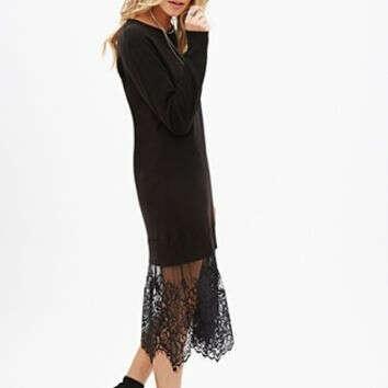 Платье-свитер с кружевом черное
