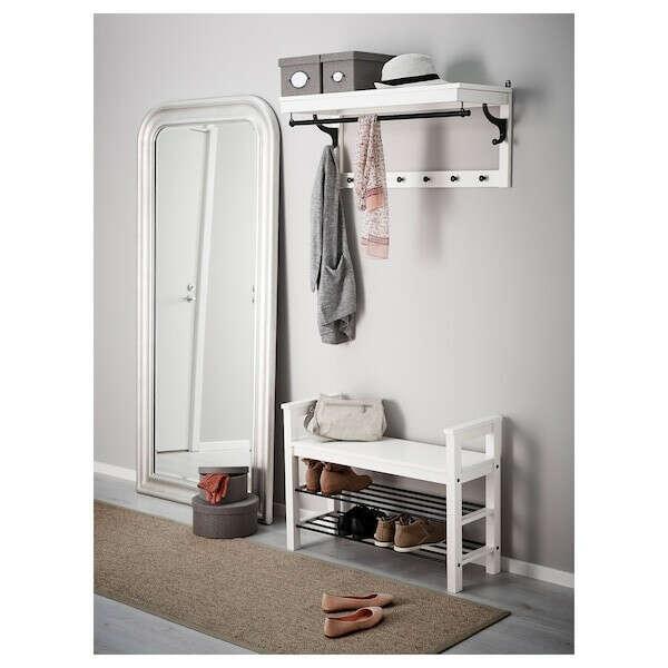 Купить ХЕМНЭС Скамья с полкой для обуви, белый, 85x32 см по выгодной цене - IKEA