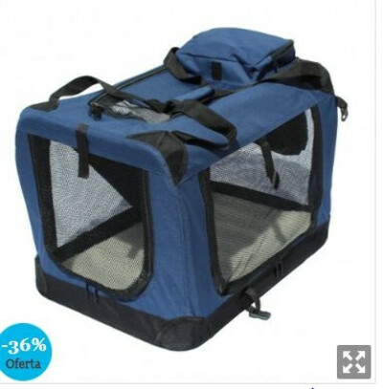 Transportin para perros plegable Yatek de entradas laterales y superiores con alta visibilidad, confort y seguridad para tu mascota de tamaño M (60 x 42 x 42cm)