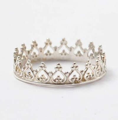 Silver Crown Ring Sterling Stacking Princess