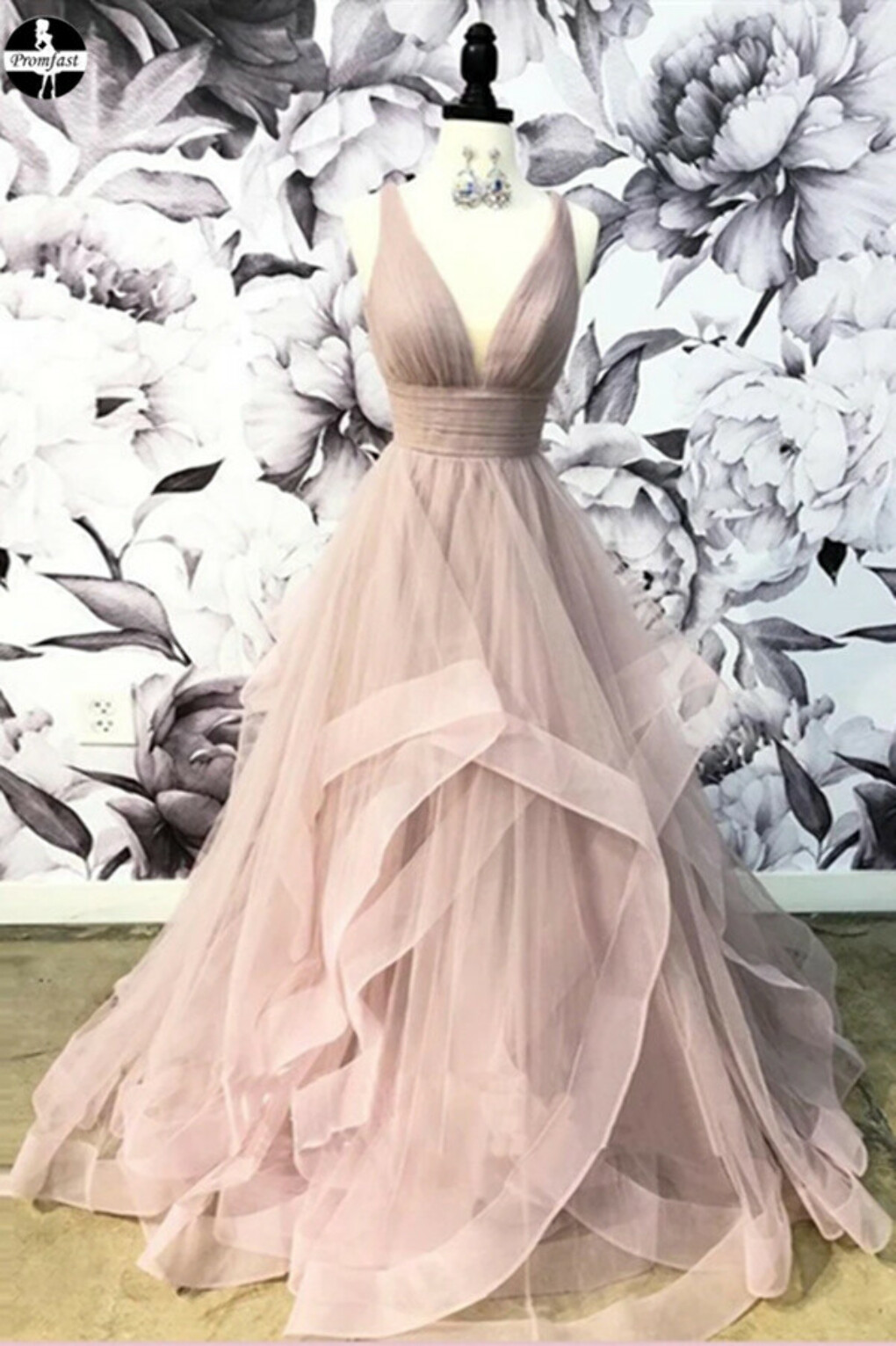 Promfast Open Back Dusty Pink Long Prom Dress Simple Ball Gowns Unique Prom Dress Long Evening Gowns PFP1978