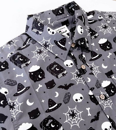 Witchy Halloween Button Down Unisex Style Shirt - Sizes XS-2X