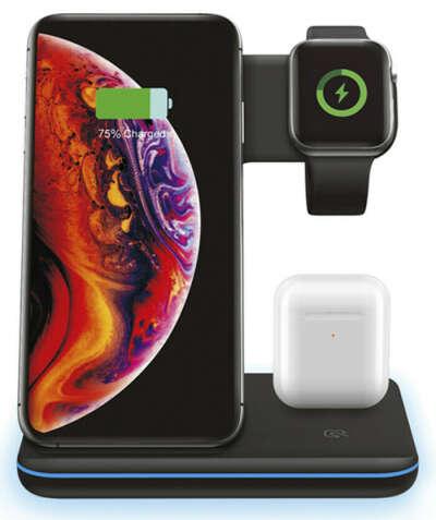 Беспроводное зарядное устройство для телефонов iPhone / Samsung / часов Apple Watch / Зарядкой для наушников AirPods и AirPods Pro / 3 в 1 с Быстрой зарядкой / Док-станция, Матовая черная