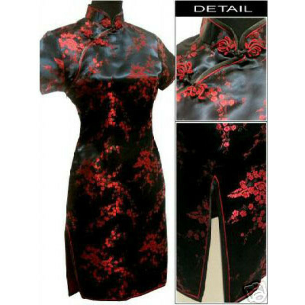 Black red Chinese Women's Satin Cheongsam Qipao Mini Evening Dress Size:S M L XL XXL XXXL 4XL 5XL 6XL купить на AliExpress