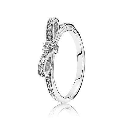 PANDORA | Кольцо из серебра с цирконием, бантик