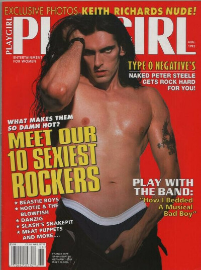 PLAYGIRL August 1995 ROCKER PETER STEELE NUDE! Type O Negative KEITH RICHARDS