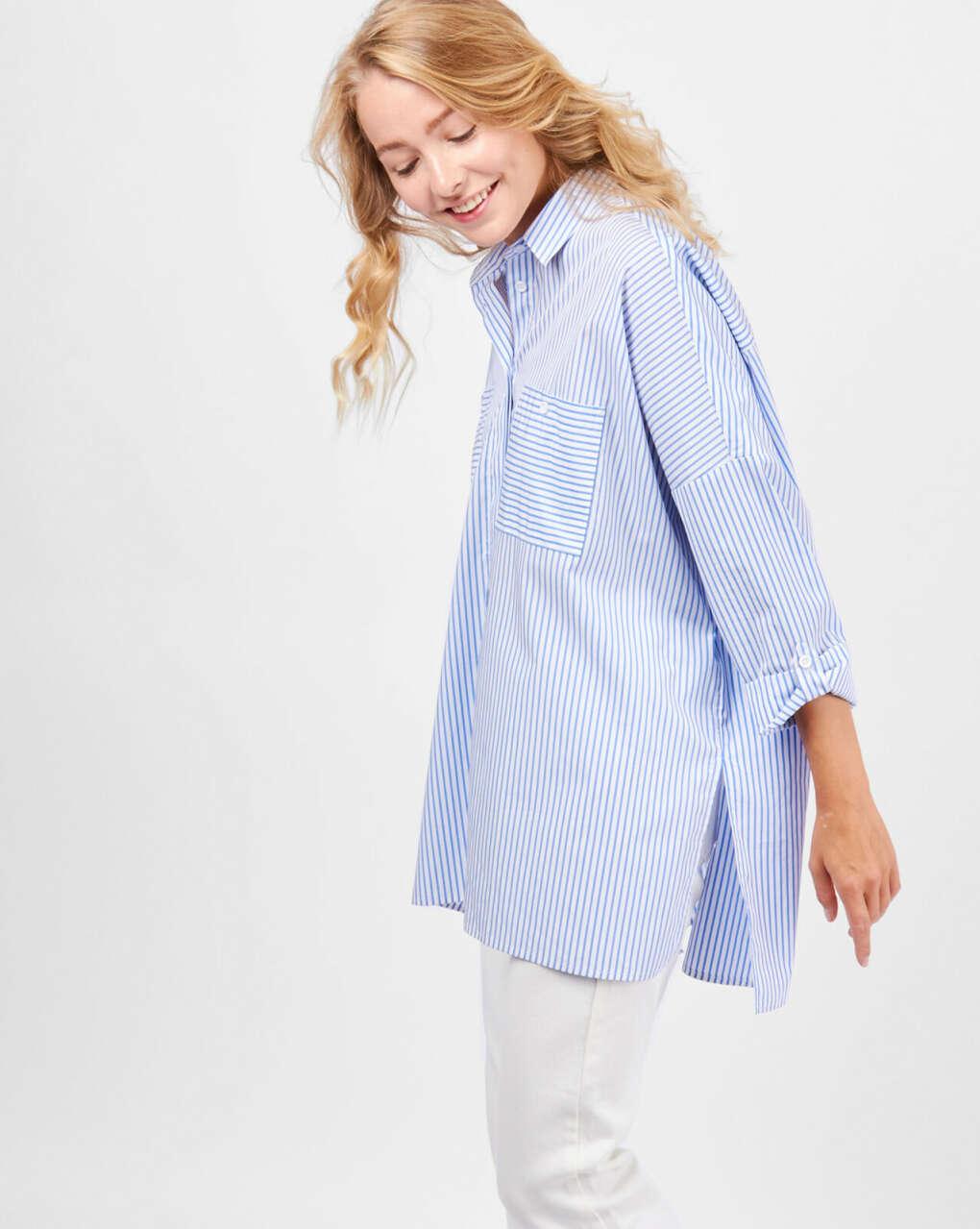Рубашка с карманами в полоску