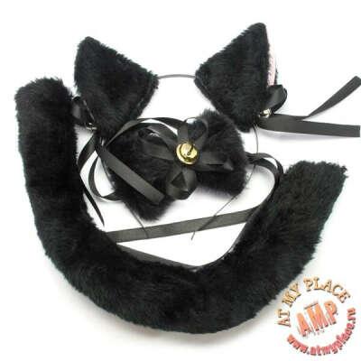 Неко-набор черный: ушки, хвост, бантик