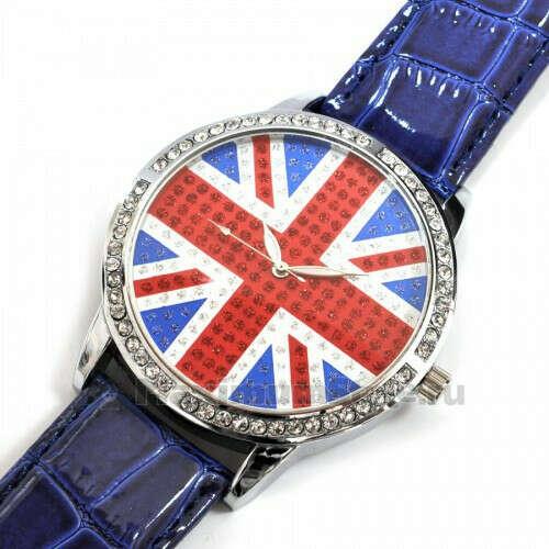 """Часы наручные """"Британский флаг"""" (blue, со стразами)"""