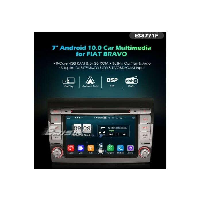 "ERISIN ES8771F 7"" FIAT BRAVO PX5 DSP ANDROID 10.0 CAR DVD CARPLAY & AUTO GPS 4G DAB+ BT WIFI"