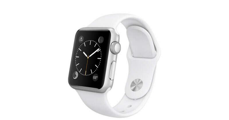 Apple Watch Sport - Корпус 38 мм из серебристого алюминия, белый спортивный ремешок
