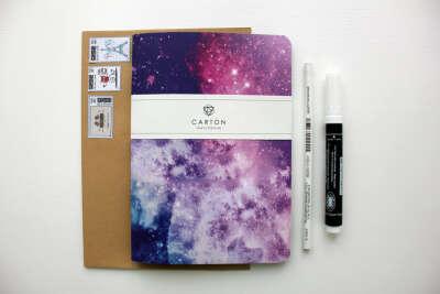 Набор: SPACE скетчбук А 5 формата + белый карандаш+ белый маркер