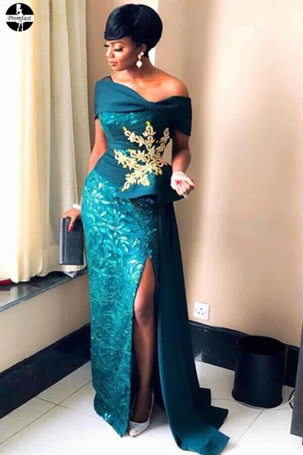 Promfast Beautiful Green Lace Long Prom Dresses, African Formal Dresses PFP1985