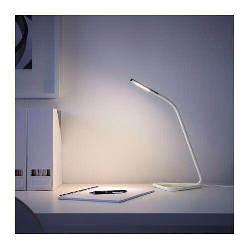 ХОРТЕ Рабочая лампа, светодиодная, белый, серебристый