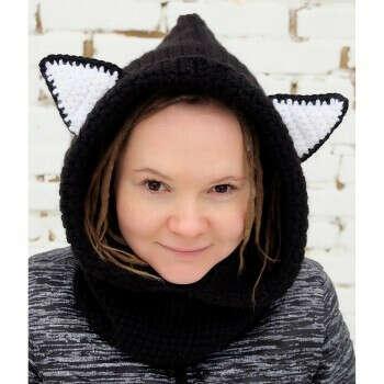 """Вязаная шапка-снуд """"Черная кошка"""""""