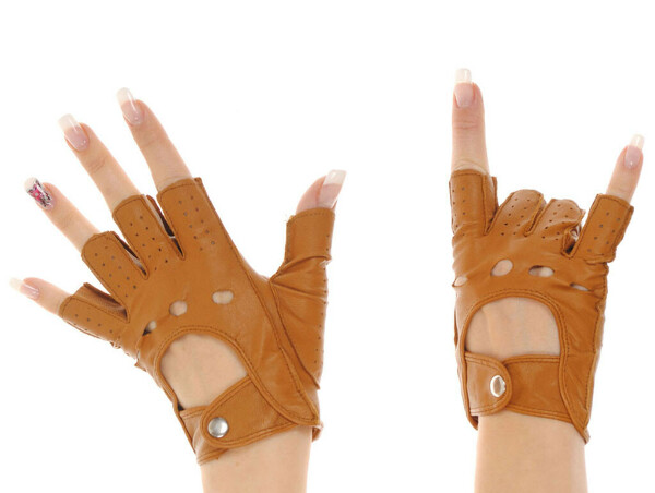 Перчатки без пальцев, кожа