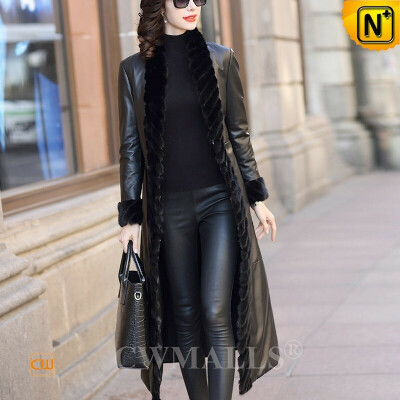 Custom Leather Down Coat   Mink Fur Trim Leather Long Coat with Down Filled CW602635   CWMALLS®