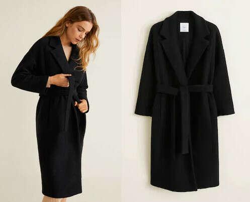 Черное пальто-халат