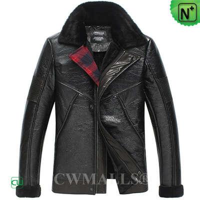CWMALLS® Sheepskin Leather Bomber Jacket CW838025