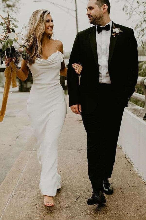 Mermaid Spaghetti Straps Backless Ruched Boho Wedding Dress PFW0369