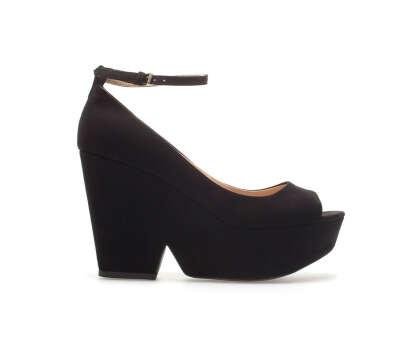 Туфли с открытым мыском на танкетке Zara