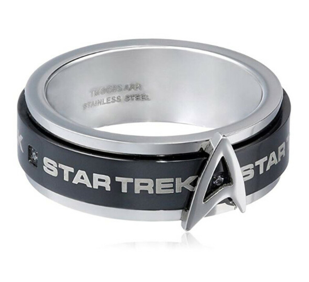 Star Trek Stainless Steel White Cubic Zirconia Spinner Ring