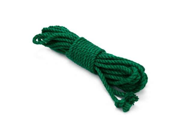 Джутовые зелёные веревки для шибари (8 штук)