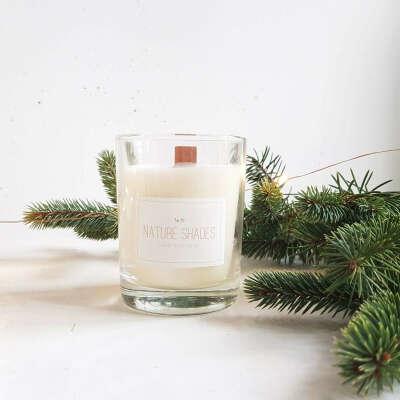 Зимняя свеча с деревянным фитилем - Hvorost Home
