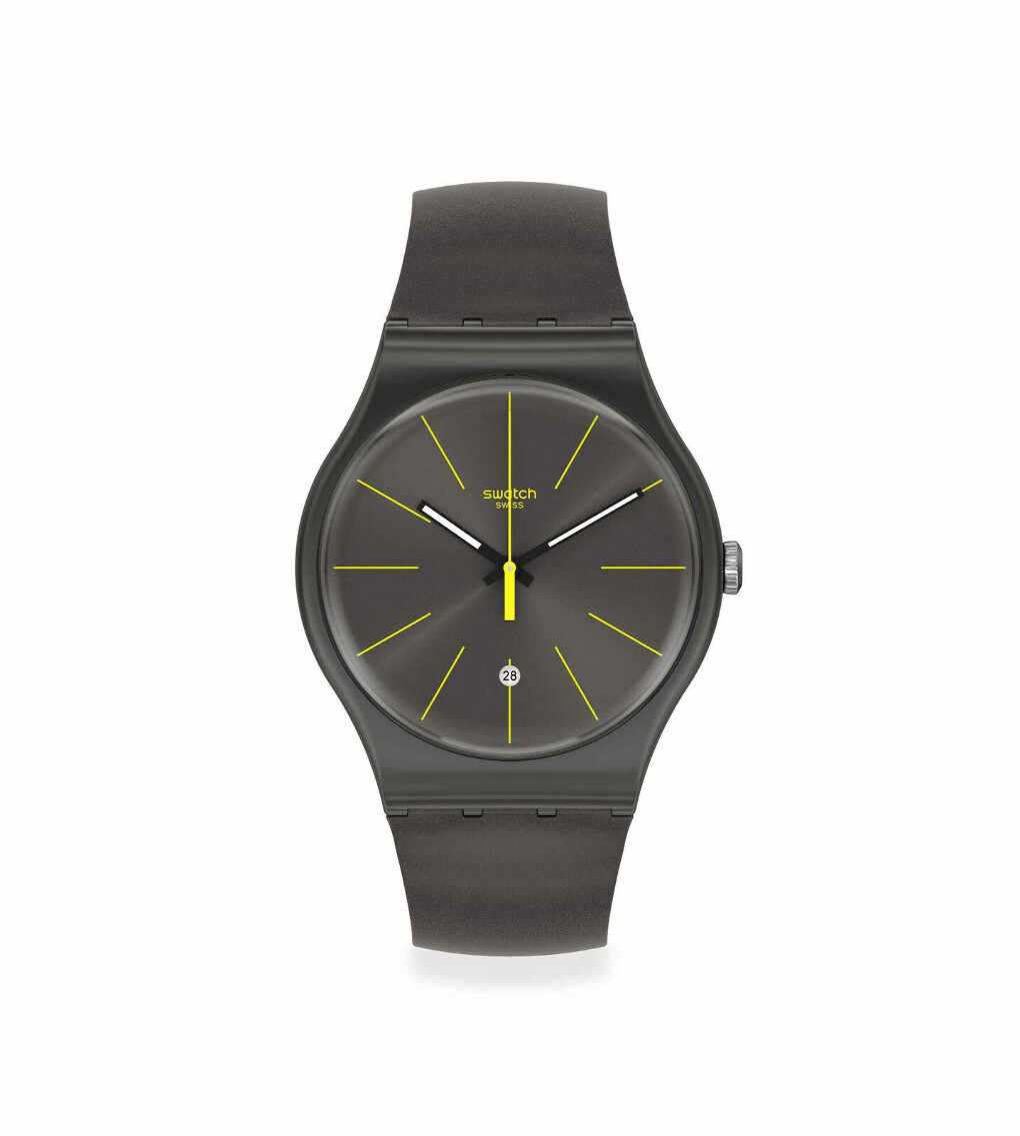 Часы Swatch (черный ремешок, черный циферблат)