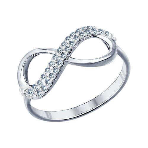 Кольцо бесконечность из серебра с фианитами арт. 94011255