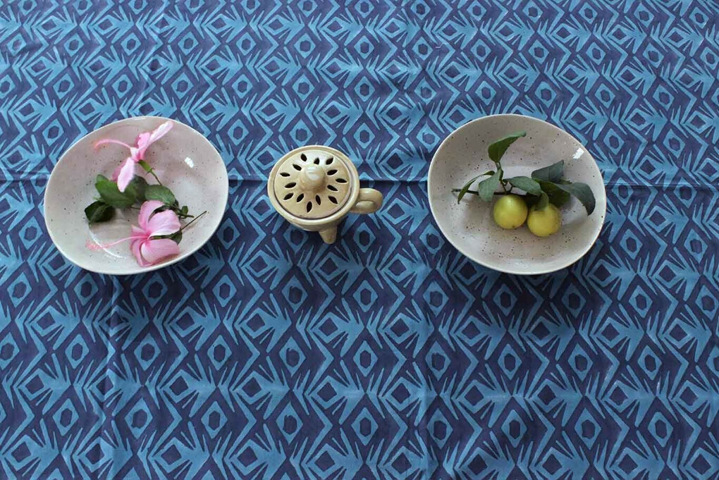 Geometrical Blues Hand block Printed Cotton Six Seater Table Cover