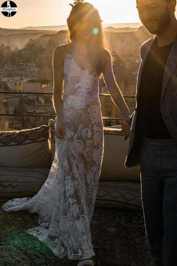 Promfast Rose Lace Sheath Wedding Dresses Spaghetti Strap Boho Beach Wedding Dress PFW0520