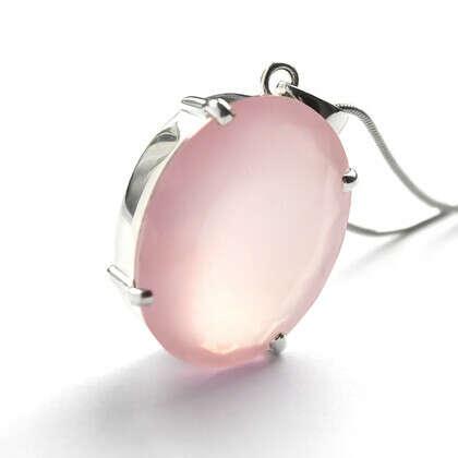 Кулон 'Aqua Rose' с розовым кварцем серебряный