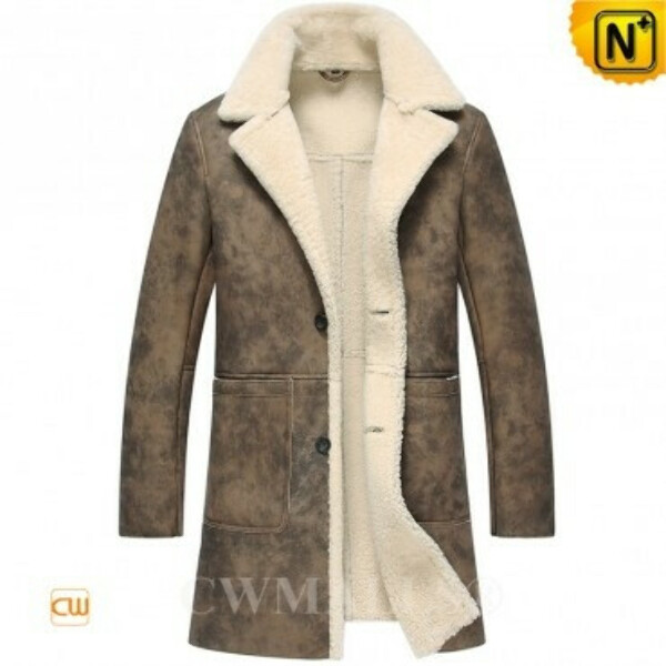 CWMALLS® Distressed Sheepskin Trench Coat CW807158