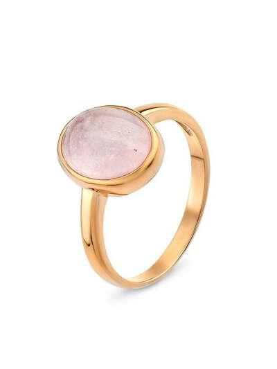 Кольцо натуральный розовый кварц