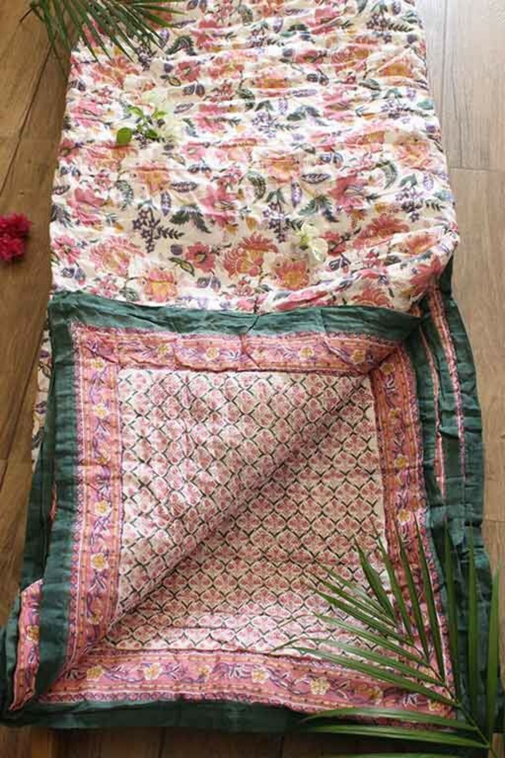 'Bagaan' Cotton Hand Block Print Double Bed Quilt