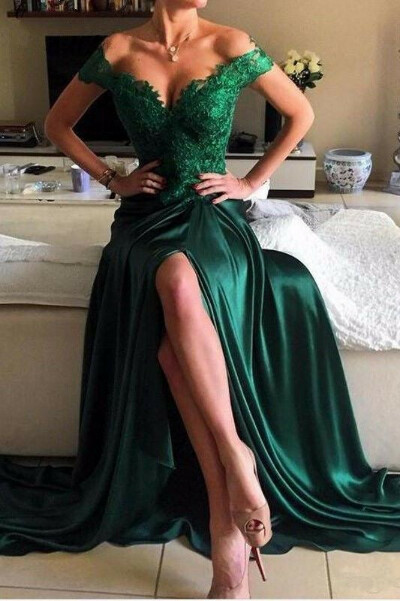 Elegant Dark Green Lace Prom Dress,Long Green Evening Dress, Formal Women Dress PFP0975