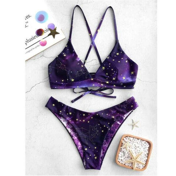 Фиолетовый звездный купальник