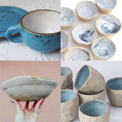 Керамическая посуда  голубая в Крапинку