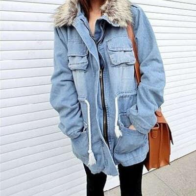 Теплую джинсовую куртку на подкладке