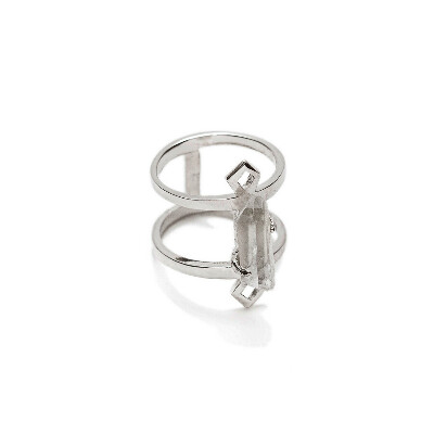 LEELOO Double Ring With Quartz Crystal | ALOHA GAIA | Jewelry with raw stones and crystals